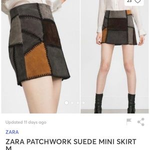 Zara patchwork suede mini skirt